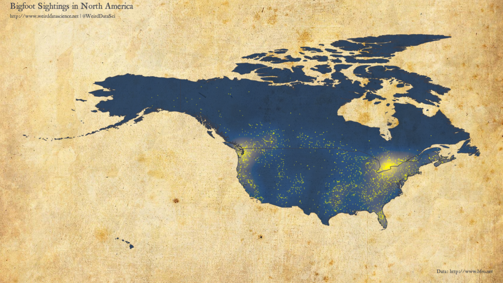 Density plot of Bigfoot sightings in North America